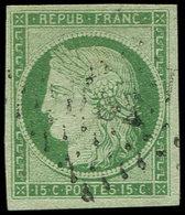EMISSION DE 1849 - 2    15c. Vert, Obl. PC DS2, TB/TTB. C - 1849-1850 Ceres