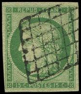 EMISSION DE 1849 - 2    15c. Vert, Oblitéré GRILLE, TB. C - 1849-1850 Ceres