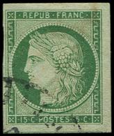 EMISSION DE 1849 - 2    15c. Vert, Obl. Càd De Transit Américain, 3 Grandes Marges, TTB - 1849-1850 Ceres
