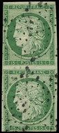 EMISSION DE 1849 - 2    15c. Vert, PAIRE Verticale Obl. ETOILE, Pli, Aspect TB - 1849-1850 Ceres