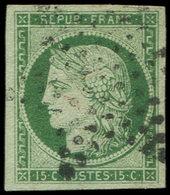 EMISSION DE 1849 - 2b   15c. Vert FONCE, Obl. ETOILE, TTB. Br - 1849-1850 Ceres