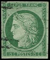 EMISSION DE 1849 - 2b   15c. Vert FONCE, Oblitération Légère, TB. C - 1849-1850 Ceres