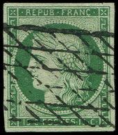 EMISSION DE 1849 - 2b   15c. Vert FONCE, Obl. GRILLE SANS FIN, Belles Marges, TTB - 1849-1850 Ceres