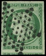 EMISSION DE 1849 - 2d   15c. Vert TRES FONCE, Obl. ETOILE, Un Voisin, Superbe, N° Et Cote Maury - 1849-1850 Ceres