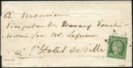 Let EMISSION DE 1849 - 2    15c. Vert, Obl. ETOILE S. LAC De Paris Pour Paris, Au Verso Càd T1318 29/8/52, TTB - 1849-1850 Ceres