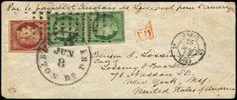 Let EMISSION DE 1849 - 2 Et 6, 15c. Vert PAIRE TB Et 1f. Carmin Touché, Obl. Gros Points S. Env., Càd PARIS 25/5/53, Pas - 1849-1850 Ceres