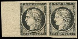 * EMISSION DE 1849 - 3    20c. Noir Sur Jaune, PAIRE Bdf, TTB - 1849-1850 Ceres