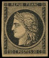 * EMISSION DE 1849 - 3c   20c. Noir S. CHAMOIS FONCE, Jolie Nuance, Très Frais, TB, N° Et Cote Maury - 1849-1850 Ceres