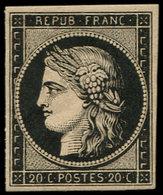 * EMISSION DE 1849 - 3h   20c. Noir INTENSE S. Teinté, Très Frais Et TTB - 1849-1850 Ceres