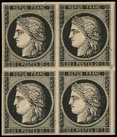 (*) EMISSION DE 1849 - 3    20c. Noir Sur Jaune, BLOC De 4, 2 Filets De Voisins à Droite, TB - 1849-1850 Ceres