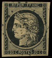 EMISSION DE 1849 - 3    20c. Noir Sur Jaune, Obl. PC, TB - 1849-1850 Ceres