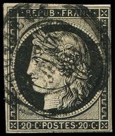 EMISSION DE 1849 - 3    20c. Noir Sur Jaune, Obl. Càd T15 LOUVIERS 3 JANV 49, Petites Marges (intactes), Sinon TB - 1849-1850 Ceres
