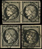 EMISSION DE 1849 - 3    20c. Noir Sur Jaune, 2 Unités Et Une Paire Obl. GRILLE, TB - 1849-1850 Ceres
