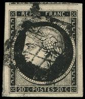 EMISSION DE 1849 - 3a   20c. Noir Sur Blanc, Oblitéré GRILLE, Marges énormes, Voisin En Haut Et Amorce De Voisin à Gauch - 1849-1850 Ceres