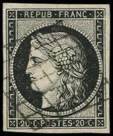 EMISSION DE 1849 - 3a   20c. Noir Sur Blanc, Oblitéré GRILLE, TTB. J - 1849-1850 Ceres