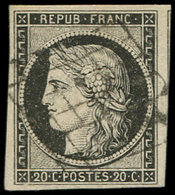 EMISSION DE 1849 - 3a   20c. Noir Sur Blanc, Oblitéré GRILLE, Amorce De Voisin à Droite, TTB - 1849-1850 Ceres