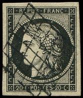 EMISSION DE 1849 - 3a   20c. Noir Sur Blanc, Obl. GRILLE, Belles Marges, TTB/SUP - 1849-1850 Ceres