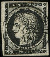 EMISSION DE 1849 - 3a   20c. Noir Sur Blanc, Obl. Càd T15 SAULX De VESOUL 4 JANV 49, TB. C - 1849-1850 Ceres