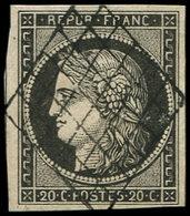 EMISSION DE 1849 - 3c   20c. GRIS NOIR, Obl. GRILLE, TB/TTB. J - 1849-1850 Ceres