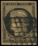 """EMISSION DE 1849 - 3g   20c. Noir Sur CHAMOIS Très Foncé, """"FAUVE"""", Obl. GRILLE, TB. C - 1849-1850 Ceres"""