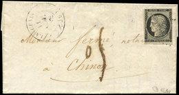 Let EMISSION DE 1849 - 3    20c. Noir Sur Jaune, Obl. PC 1636 S. LAC, Càd T14 LANGEAIS 11/11/52, Taxe 05 Tampon, Arr. CH - 1849-1850 Ceres