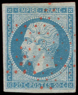 EMPIRE NON DENTELE - 14A  20c. Bleu, T I, Obl. Eotile ROUGE, Frappe Superbe. C - 1853-1860 Napoléon III