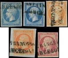 EMPIRE NON DENTELE - 14B (2), 16 (2) Et 17B, Tous Obl. ESTRANGERO BARCELONA, TB - 1853-1860 Napoléon III