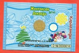 Kazakhstan 2010. City Karaganda. December - A Monthly Bus Pass For Students. Plastic. - Season Ticket