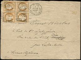 Let SIEGE DE PARIS - 36   10c. Bistre-jaune, BLOC De 4 Obl. GC 2170 S. Env., Càd LA MAISON BLANCHE 8/9/71, RR En BLOC De - 1870 Siege Of Paris