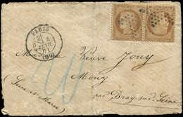 Let SIEGE DE PARIS - T36b 10c. Bistre, TETE BECHE Obl. Etoile S. Env., Càd 1/2 PARIS 4/2/71, Taxe Allemande 20 Au Crayon - 1870 Siege Of Paris