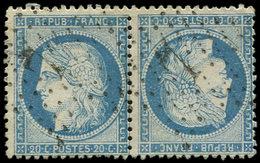 SIEGE DE PARIS - T37c 20c. Bleu, TETE-BECHE Obl. Etoile 7, Déf. Dans Un Angle, Aspect TB - 1870 Siege Of Paris