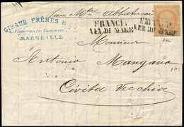 Let SIEGE DE PARIS - 38   40c. Orange, Obl. Griffe Noire FRANCIA/VIA DI MARE S. LAC Avec Fentes De Purification De Marse - 1870 Siege Of Paris