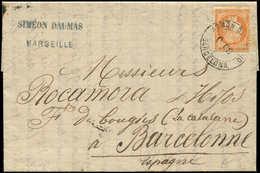 Let SIEGE DE PARIS - 38   40c. Orange, Obl. Cachet ADMON DE CAMBIO/BARCELONA S. LAC De Marseille Du 9/6/75, TB - 1870 Siege Of Paris