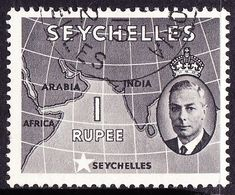SEYCHELLES 1952 1 Rupee Grey-Black SG168 FU - Seychelles (...-1976)