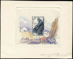 Collection Henri Cheffer - 824   Pêcheur, épreuve D'artiste En Ardoise Avec Aquarelle Originale En Marge Signée Cheffer, - Variétés Et Curiosités