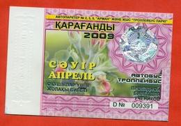 Kazakhstan 2009. City Karaganda. April - A Monthly Bus Pass For Schoolshildren. Plastic. - Season Ticket