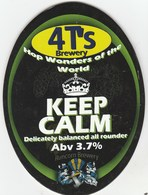 4 T'S BREWERY  (WARRINGTON, ENGLAND) - KEEP CALM - PUMP CLIP FRONT - Signs