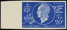 ** SAINT PIERRE ET MIQUELON 314 : Entraide, 5f. + 20f. Bleu, NON DENTELE Bdf, TB - St.Pierre Et Miquelon