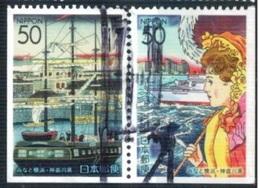 Japan 2002 - Coil - Kanagawa Prefecture - Yokohama Past And Present - From Booklet Pane 3-4 Se-tenent - 1989-... Empereur Akihito (Ere Heisei)