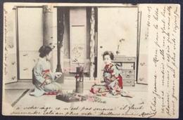 V23 CPA  UPU Japon 2 Japonaises Fleurs Semeuse 10c Paris R.Marsollier 11/11/1903 - Japan