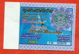 Kazakhstan 2008. City Karaganda.December - A Monthly Bus Pass For Students. Plastic. - Season Ticket