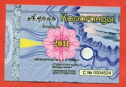 Kazakhstan 2011. City Karaganda. February - A Monthly Bus Pass For Students. Plastic. - Season Ticket