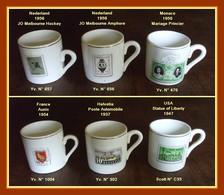 Service 6 Tasses Porcelaine Anciennes Imprimées Timbres Et Dorure (R) Voir Sur Scan ! - Tasses