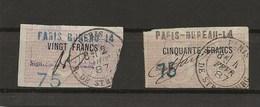 FISCAUX DE FRANCE Caisse Nationale D'epargne N°7 20 F Et  N°10 50 F  Cote 80€ - Fiscaux