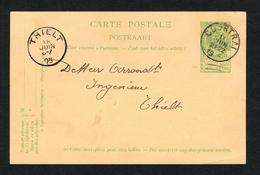 // OUDE POSTKAART  CARTE POSTALE  COURTRAI - THIELT 1905 - 1893-1907 Coat Of Arms