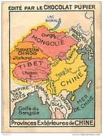 PU3     CHINE  PROVINCES    CARTE MAP  MONGOLIE TIBET BENGALE CHINA ASIA ASIE  Chocolat Tradecard COREE   7 X 5 Cm - Vieux Papiers