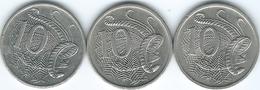 Australia - Elizabeth II - 10 Cents - 1983 (KM65) 1992 (KM81) & 2001 (KM402) - Decimal Coinage (1966-...)
