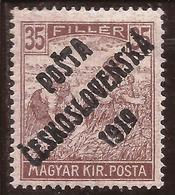 "Checoslovaquia - Fx. 3433 - Yv. 85 - Sobrecarga ""PÓSTA CESKOSLOVENSKA 1919"" S/ 35 Fi. Marron De Hungria - (*) - Cecoslovacchia"