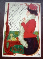 Hans Christiansen Paris Original Art Nouveau Litho Lady Vintage Postcard - Christiansen