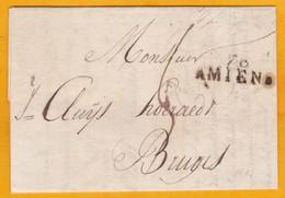 1813 - Marque Postale 76 AMIENS, Somme Sur LAC En Français Vers Bruges, Belgique (période Française) - Marcofilia (sobres)